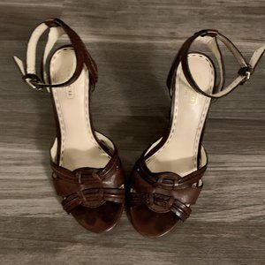 Coach Brown Chunky High Heel Sandals, Size 7.5